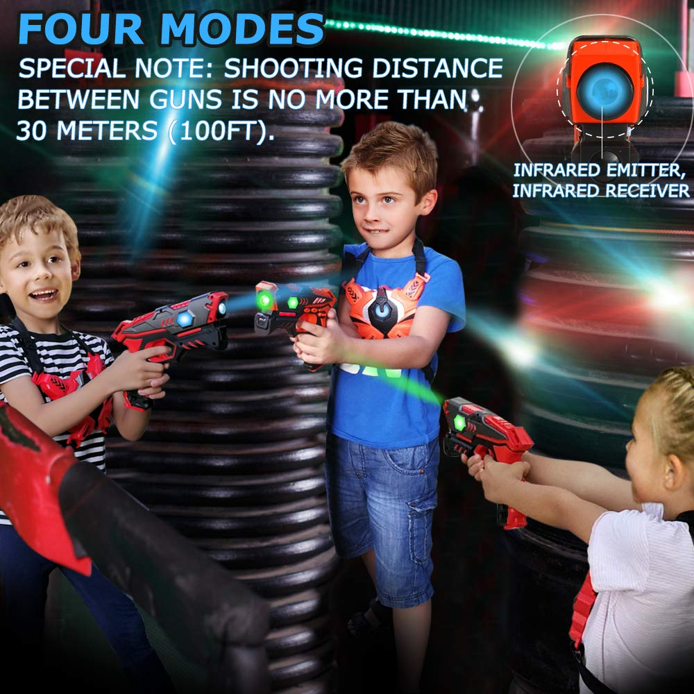 Laser Tag Guns Set with Vests, Infrared Guns Set of 4 Players by LUKAT (Image #9)