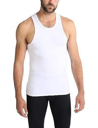 9bcb547b993a Ultrasport Herren Unterhemd   Achselshirt mit breiten Trägern für hohen  Tragekomfort, Weiß, S