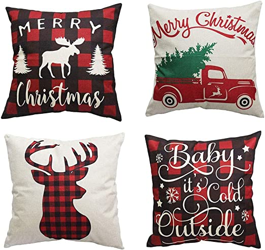 Mocofo Decorative Throw Pillow Covers,4 Set Christmas Decor Cotton Linen  Accent Toss Beige Couch Pillows Sofa Fabric Square Cushion Cases for Home  ...