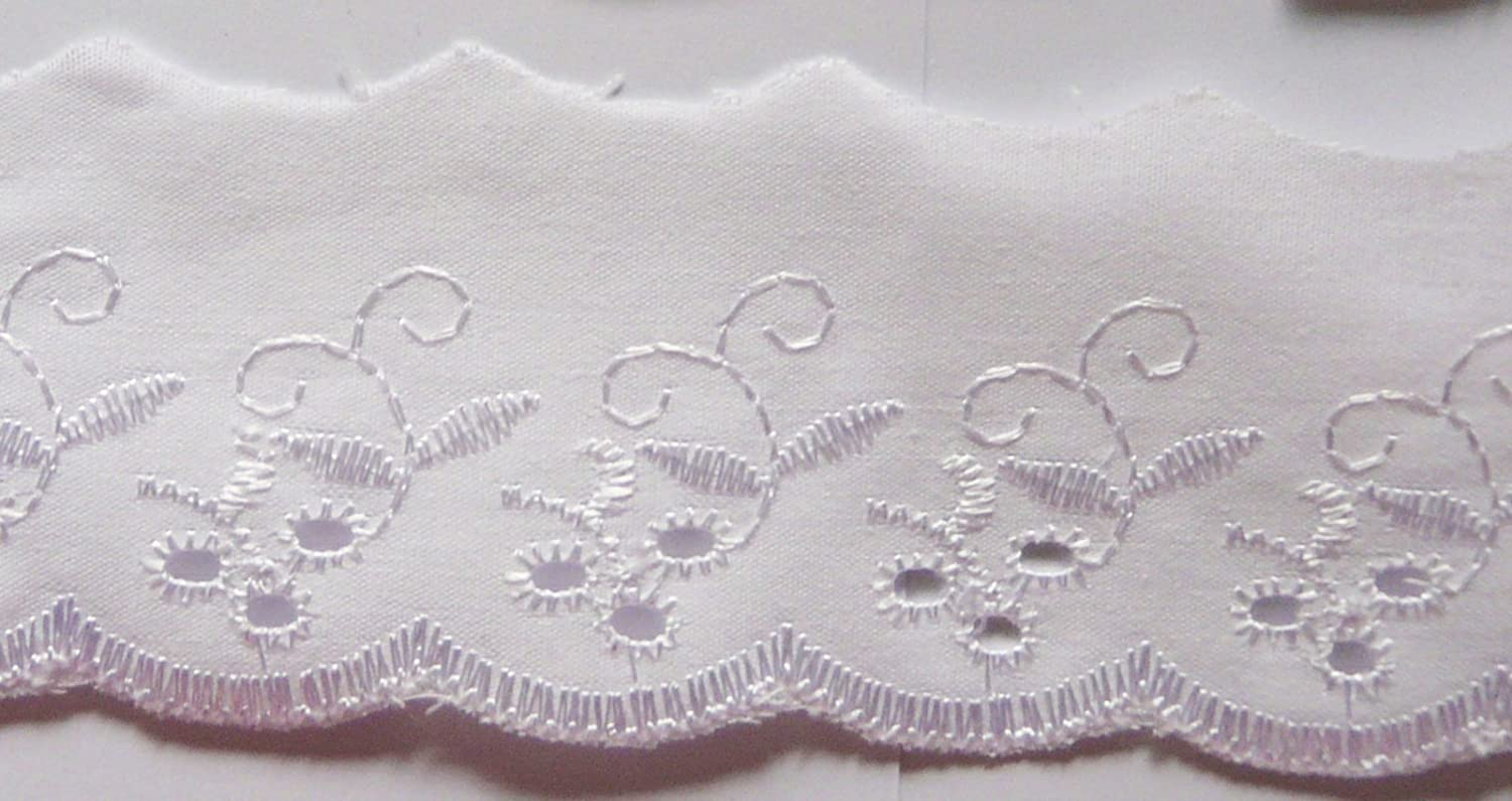 73MM X 5 METRES NEW 100/% COTTON WHITE EMBROIDERIE ANGLAIS SCALLOPED LACE 3 WIDE