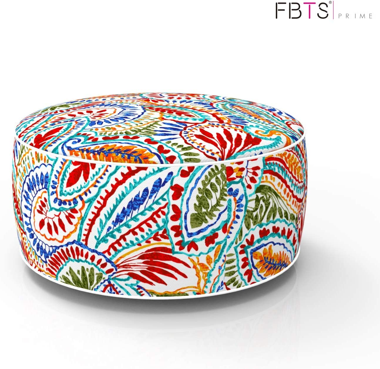 FBTS Prime Outdoor Inflatable Ottoman Red and Orange Paisley Round 21x9 Inch Patio Foot Stools and Ottomans Portable Travel Footstool Used for Outdoor Camping Home Yoga Foot Rest