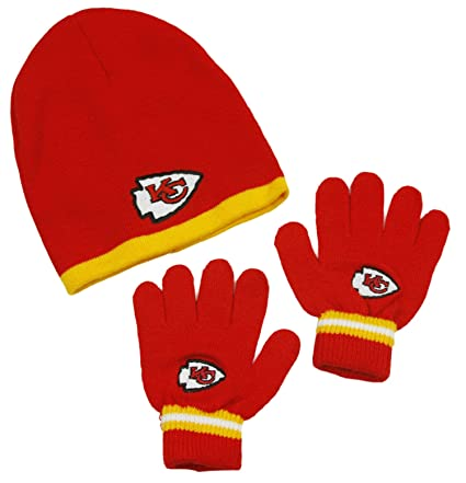 b45b4e45664 Amazon.com  Kansas City Chiefs NFL Little Boys Knit Hat and Gloves Set - Red  (Kids 4-7)  Sports   Outdoors