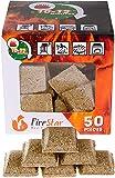 Fire starter cubes - bbq and grill charcoal starter - pack 50 pcs - natural firestarter squares 100% Waterproof - fireplace starters - burns up to 12 min - Firestarter - igniter for fire