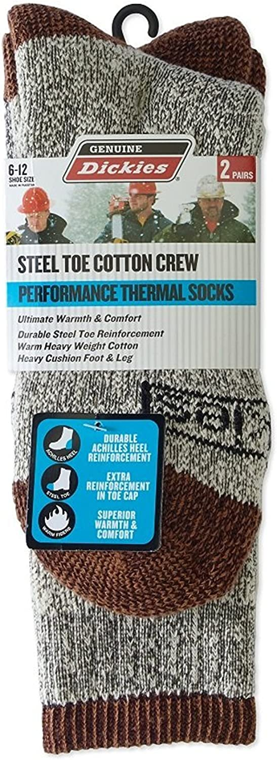 Dickies Genuine Men's 2-Pair Premium Steel Toe Thermal Cotton Crew Socks 6-12 - Duck Brown