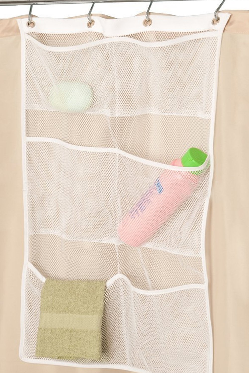 ALYER 6 Storage Pockets Hanging Mesh Shower Caddy,Space Saving Bathroom Accessories and Quick Dry Bath Organizer,White-Four Rings