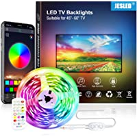 JESLED 3M TV LED Backlight, Smart Bluetooth LED Strip lights with Built-in Mic, Music Sync, RGB Color Changing LED Light…