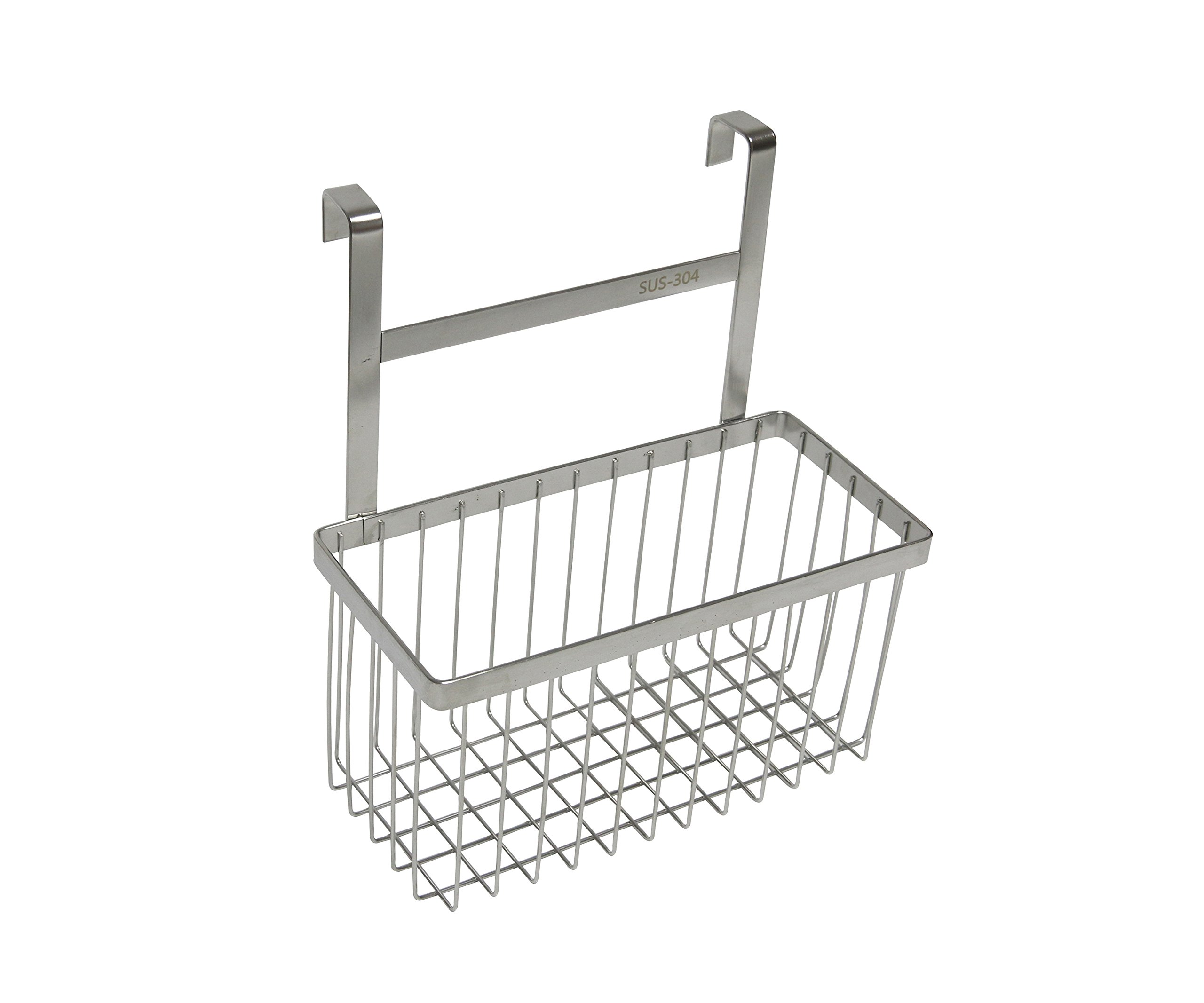 Over The Cabinet Kitchen/Bathroom Storage Organizer Basket Rack, Sandwich Bags, Cleaning Supplies - Large, Stainless Steel