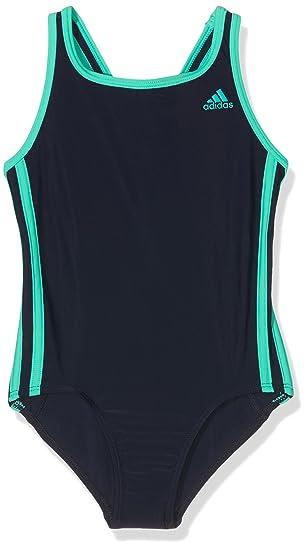 9dd159f5627 adidas Girls 3-Stripes Swimsuit, Blue (Collegiate Navy/Shock Mint),