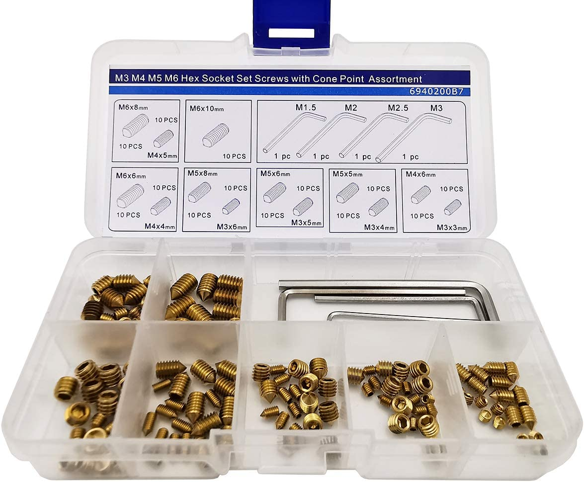 Hex Socket Set Screws with Cone Piont Assortment Kit,Alloy Steel,190 Pieces,Black