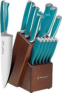 Emojoy Knife Set, 15-Piece Kitchen Knife Set with Block Wooden, Lake Blue Handle for Chef Knife Set, Kitchen Knives Sharpener and Scissors German Stainless Steel