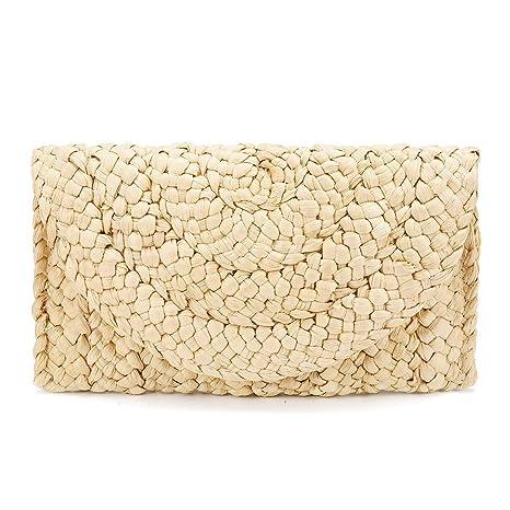 Monedero de embrague de paja,JOSEKO Bolso de mano de mujer Envelope Flat Clutch Bolsa