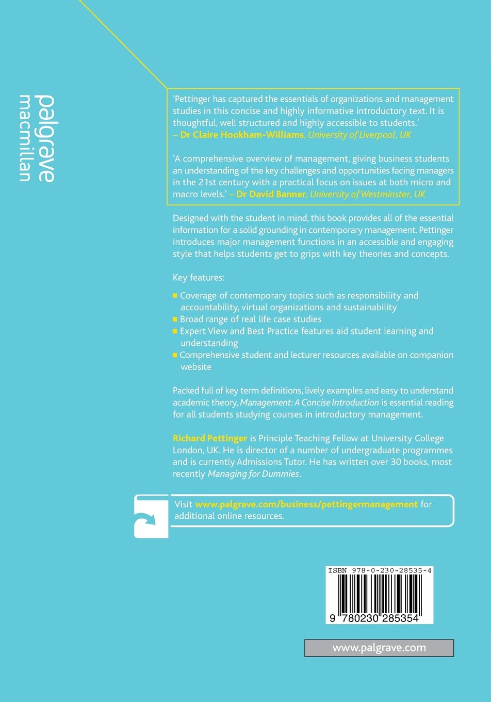 Management a concise introduction amazon richard management a concise introduction amazon richard pettinger 9780230285354 books sciox Choice Image