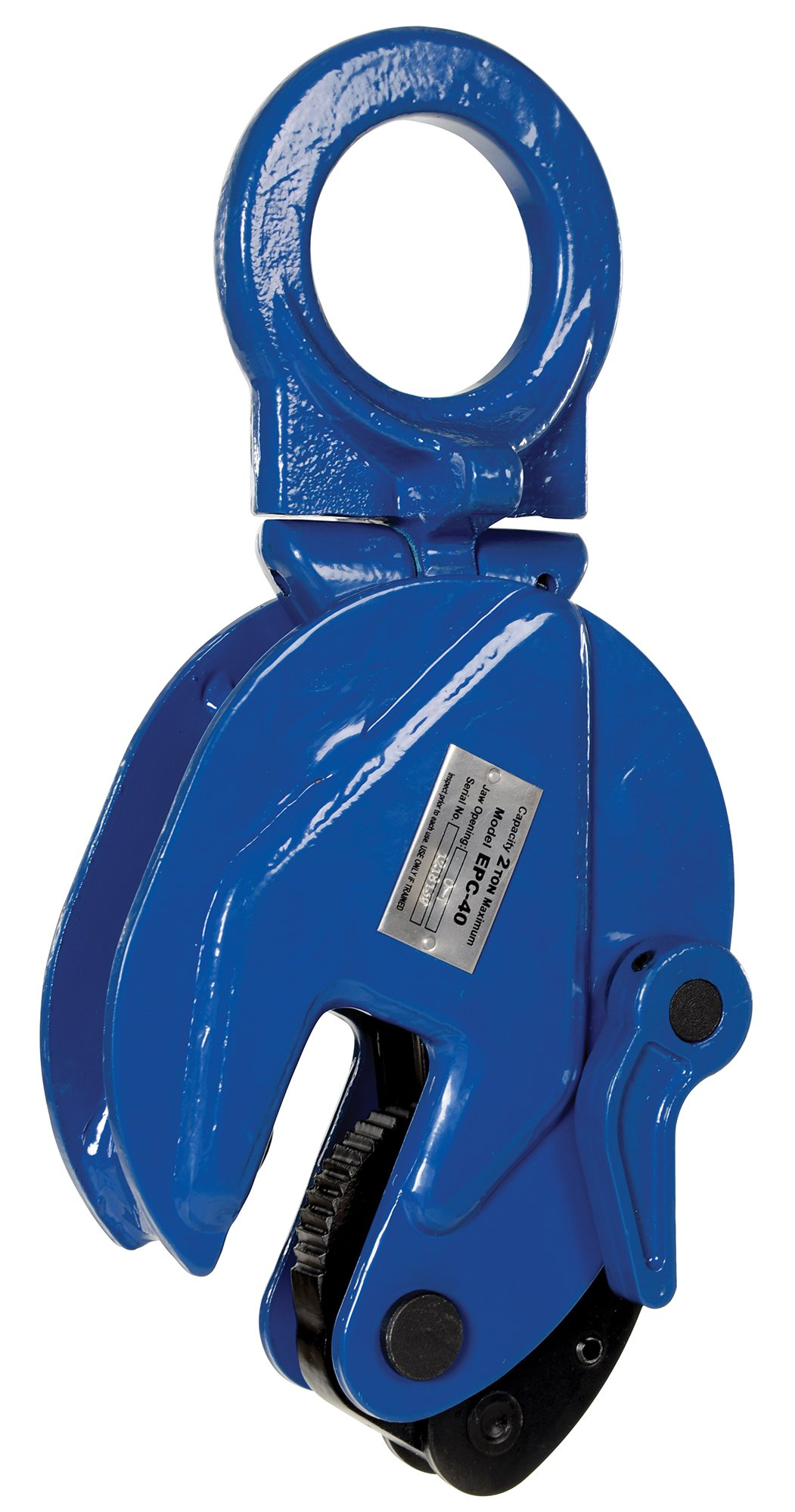 Vestil EPC-40 Vertical Plate Clamp, 1'' Plate Thickness, 4000 lbs Working Load Limit, 2.38'' Bale Opening