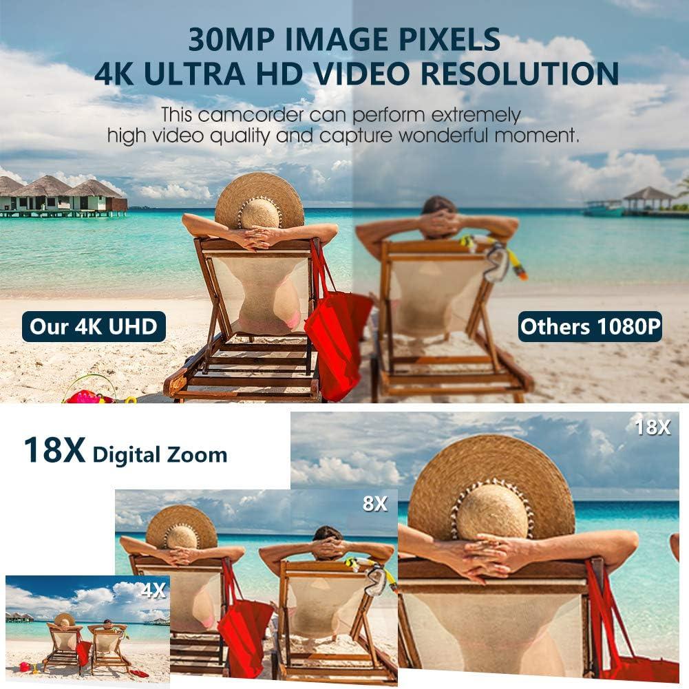 2 Piles Cam/éscope 4K Cam/éra Vid/éo Ultra HD 30MP 18X Zoom Num/érique Camescope Vid/éo Rotatif /à /écran Tactile Cam/éra de Vlogging pour Youtube avec Microphone Externe