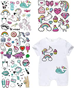 Baby Iron On Patches Unicorn Heat Transfer Stickers with Colorful Pattern Appliques Design Decoration A-Level Washable for T-Shirt Jeans Bags(4 Set)