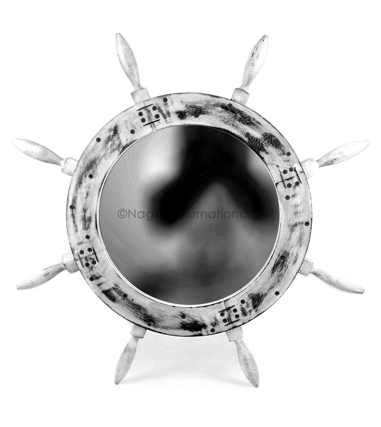 Rustic Black 18 Inches Rustic Grey Antique Nautical Maritime Wall Mounted Mirror Ship Wheel   Bay Home Decor & Gifts   Nagina International (36 Inches, Rustic White)