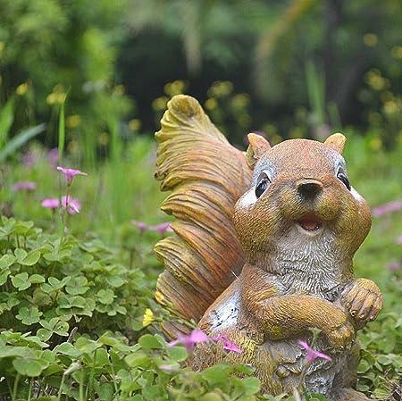 zenggp Pequeñas Ardillas De Resina Adornos De Jardín Gnomos Estatuas Regalos Decoración para El Hogar Exhibiciones,B: Amazon.es: Hogar