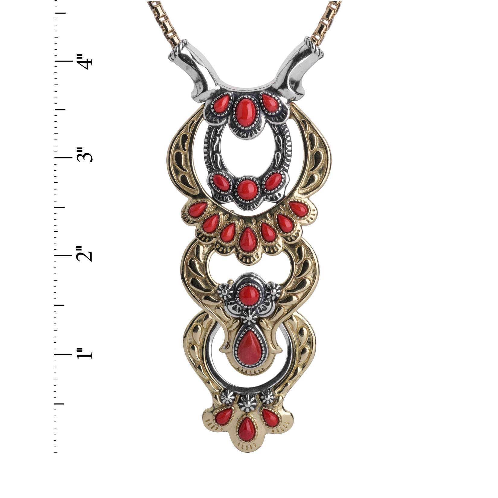 Sterling Silver, Brass and Red Coral Necklace with Removable Stations by American West (Image #3)