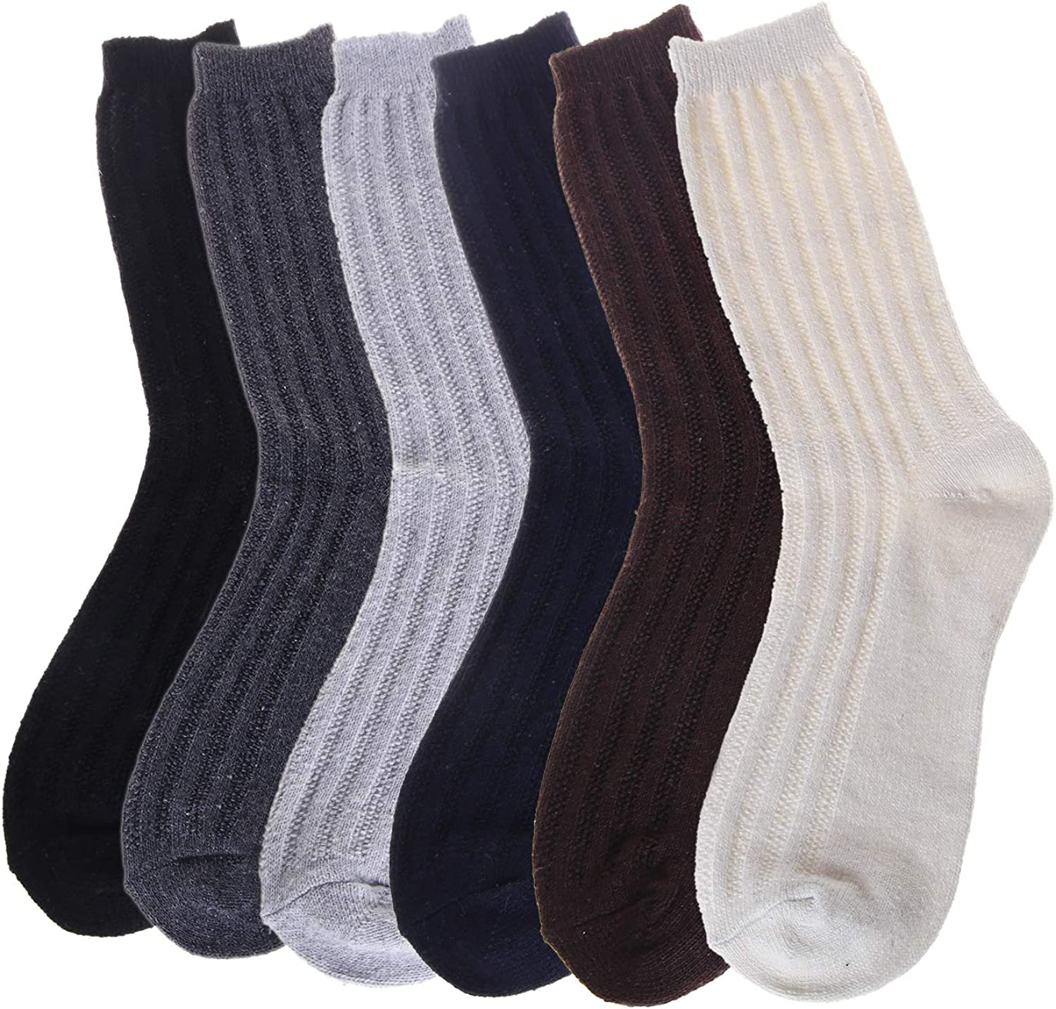 6 Pairs Wool Socks Mens Winter Warm Thick Soft Casual Knit Socks