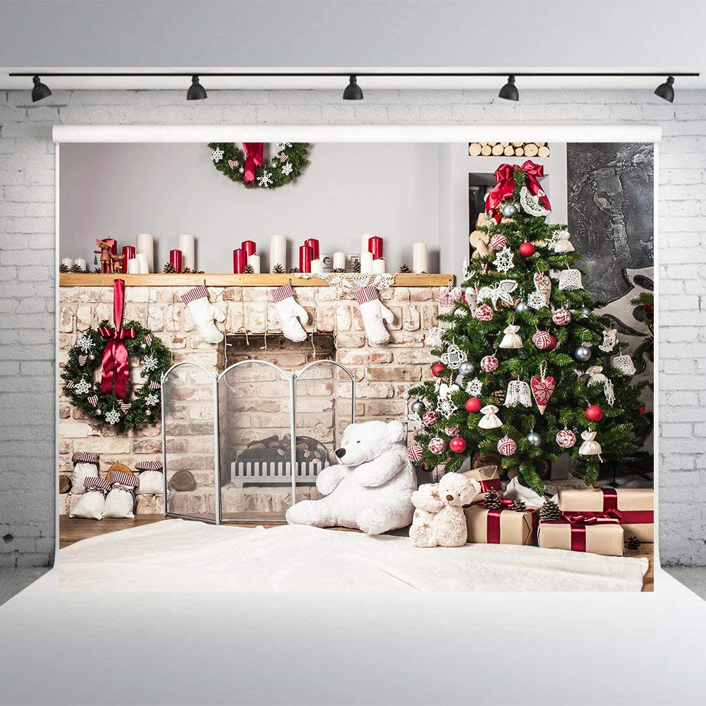7x5ft Christmas Tree White Brick Fireplace Photography Backdrops Vinyl Backdrop for Baby Christmas Photo Studio Background