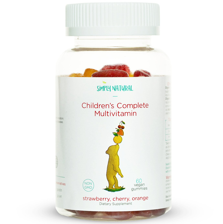Simply Natural Non-GMO Kid's Complete Multivitamin Gummy Bears, 30-Day Supply, Vegan Friendly Pectin Multi-Vitamins, Allergen-Free, 60 Count