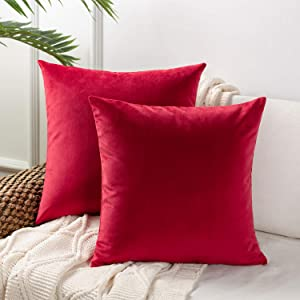 Azume 18x18 inch Decorative Throw Pillow Cover Soft Velvet Cushion Cases, Solid Accent Cushion Covers for Sofa Couch Chair Living Room Bedroom Office, 2 Packs, Red