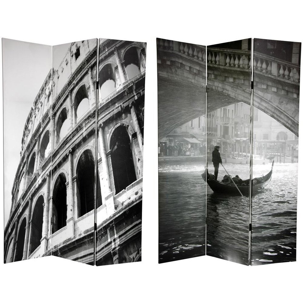 ORIENTAL FURNITURE 6 ft. Tall Double Sided Coliseum and Canal Room Divider