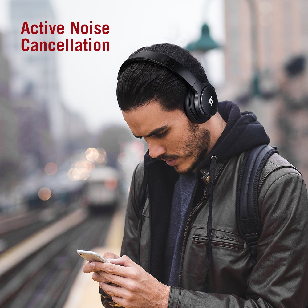 TaoTronics Active Noise Cancelling Bluetooth Headphones HiFi Stereo Wireless Over Ear Deep Bass Headset w/cVc Noise Canceling Microphone 30 Hour Playtime Comfortable Earpads for Travel Work TV by TaoTronics (Image #2)