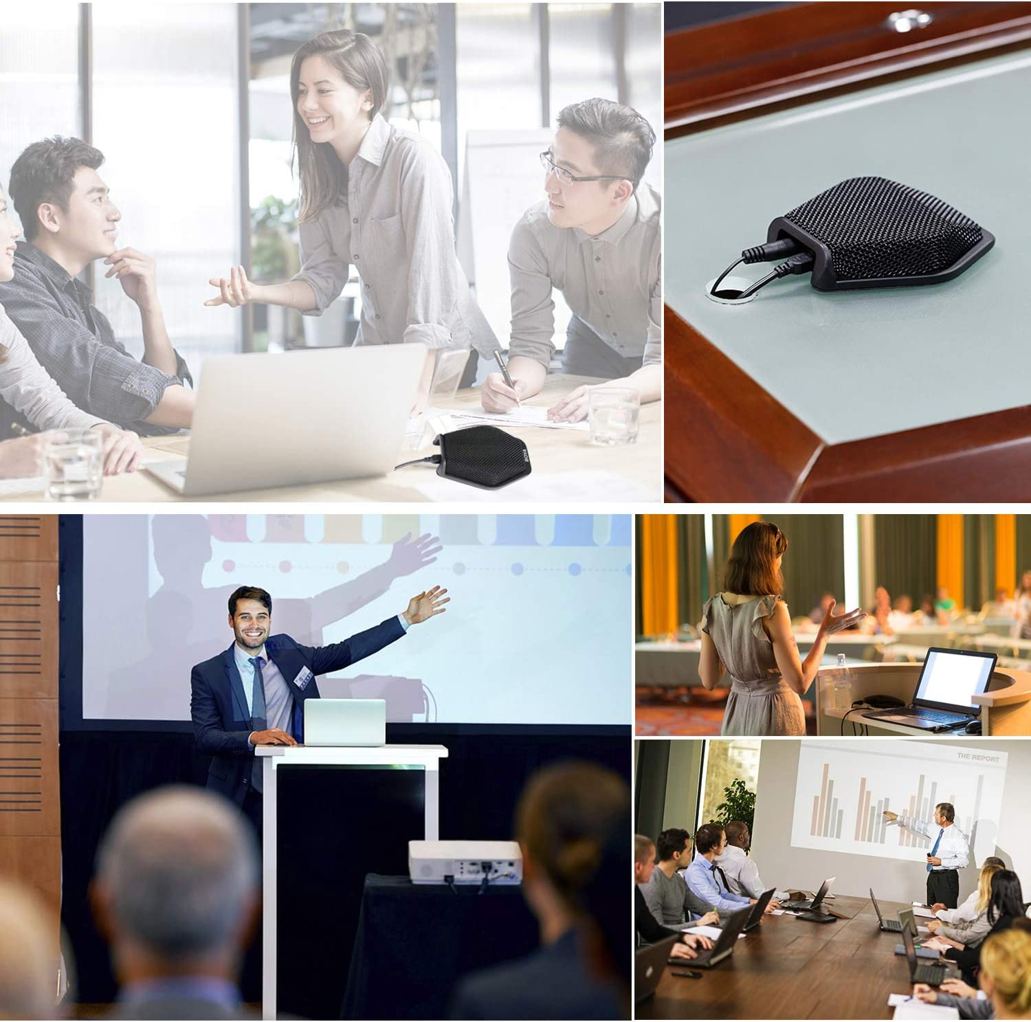 USB Conference Microphone BOYA Table Top Mic Condenser Cardioid Desktop Computer Teleconference Microphone with Real-time Monitor 180/° for Windows Mac Laptop Business Meeting Seminar