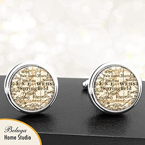 Amazon.com: Map Cufflinks Springfield MO Antique Map Cuff ... on map of mo state capitol, map of mo state parks, map of mo casinos, map mn state fairgrounds,