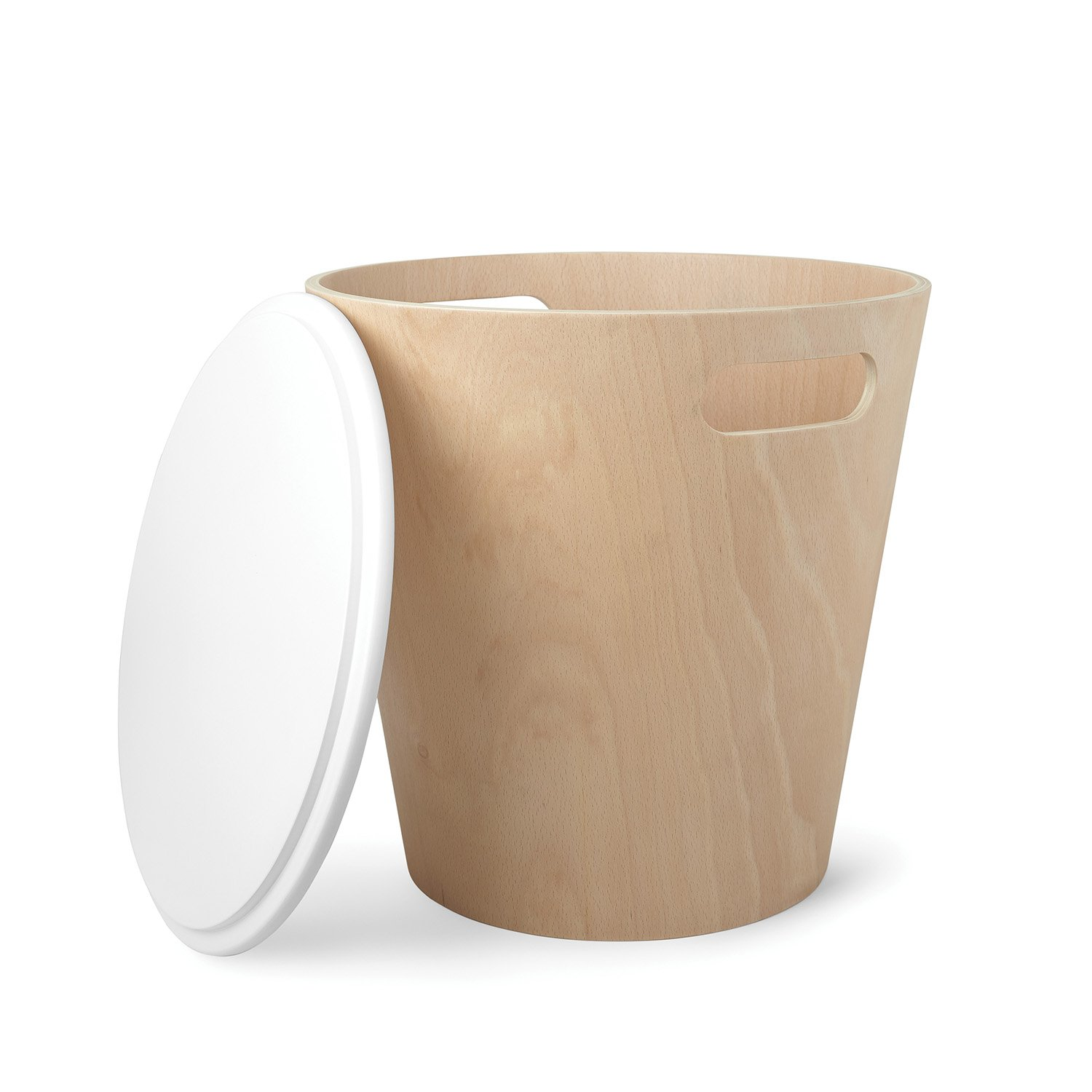Umbra Woodrow Storage Ottoman, Modern Round Ottoman with Natural Wood Base, White Tabletop Lid, Great for Small Spaces