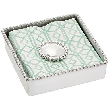 Mariposa Round Pearl Beaded Napkin Box