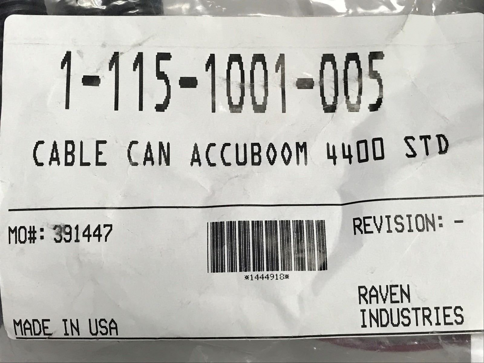 115-1001-005 RAVEN CABLE CAN ACCUBOOM 4400 STD
