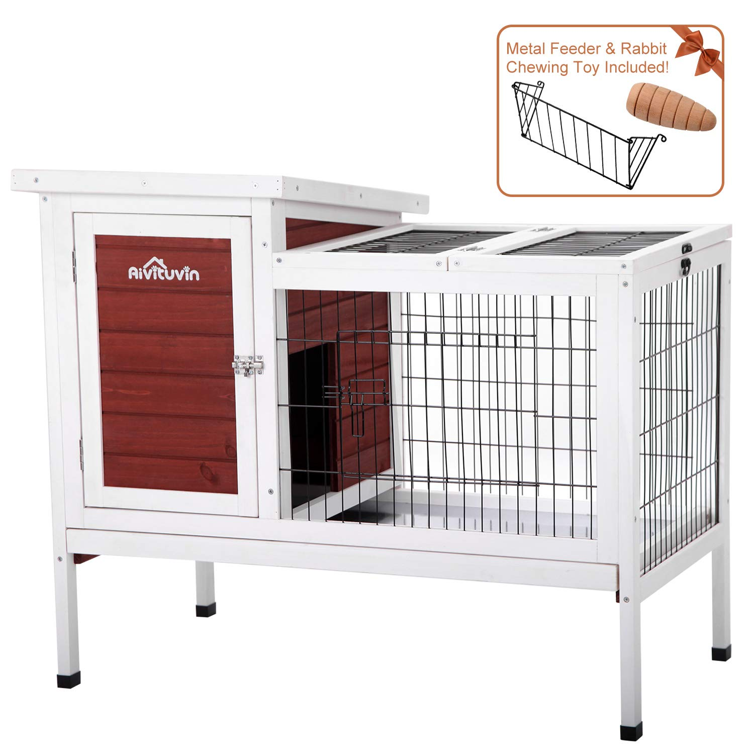 Aivituvin Rabbit Cage, Rabbit Hutch, Indoor Guinea Pig Cage, 2- Story Bunny Cages for Small Animals,Chicken Coop with Metal Feeder & Chew Toy ... (Aubur, Rabbit Hutch #07)