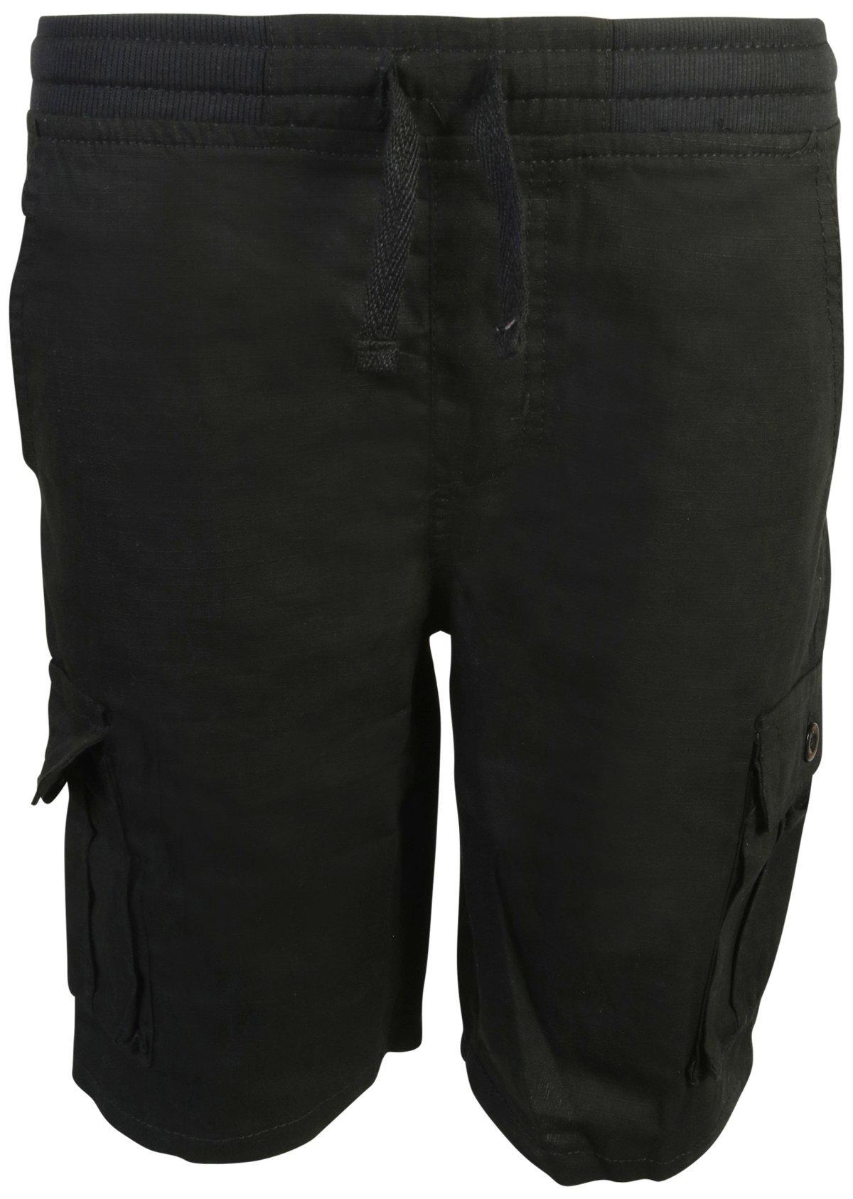Quad Seven Boys Pull-On Ripstop Cargo Shorts, Black, Size 12'