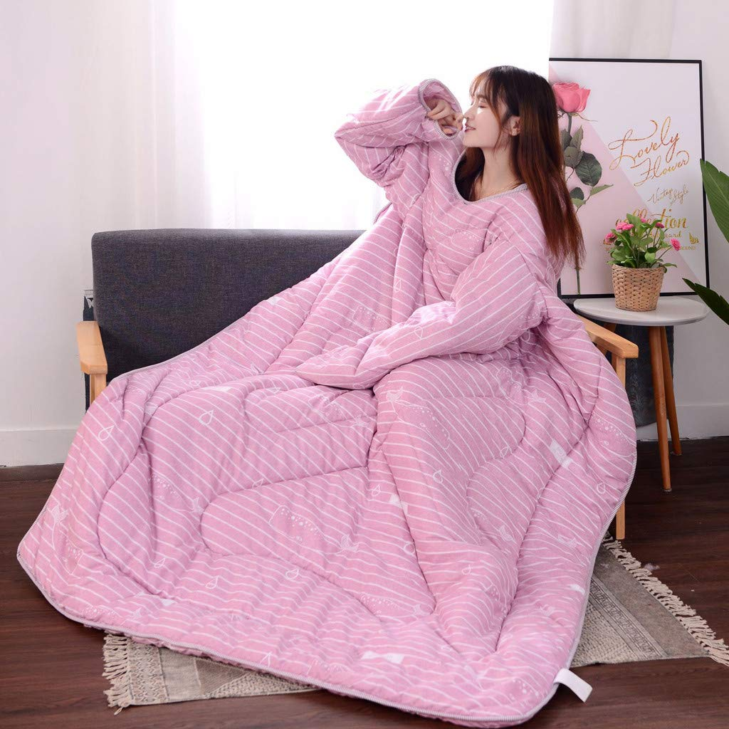 Wearefo Wearable Quilt Warm Blanket Lazy Quilt with Sleeves for Winter Summer C Four Season Universal Thickened Large Quilt Sleeved Throw Blanket for Kids Adults Cotton Blanket Bedding Set