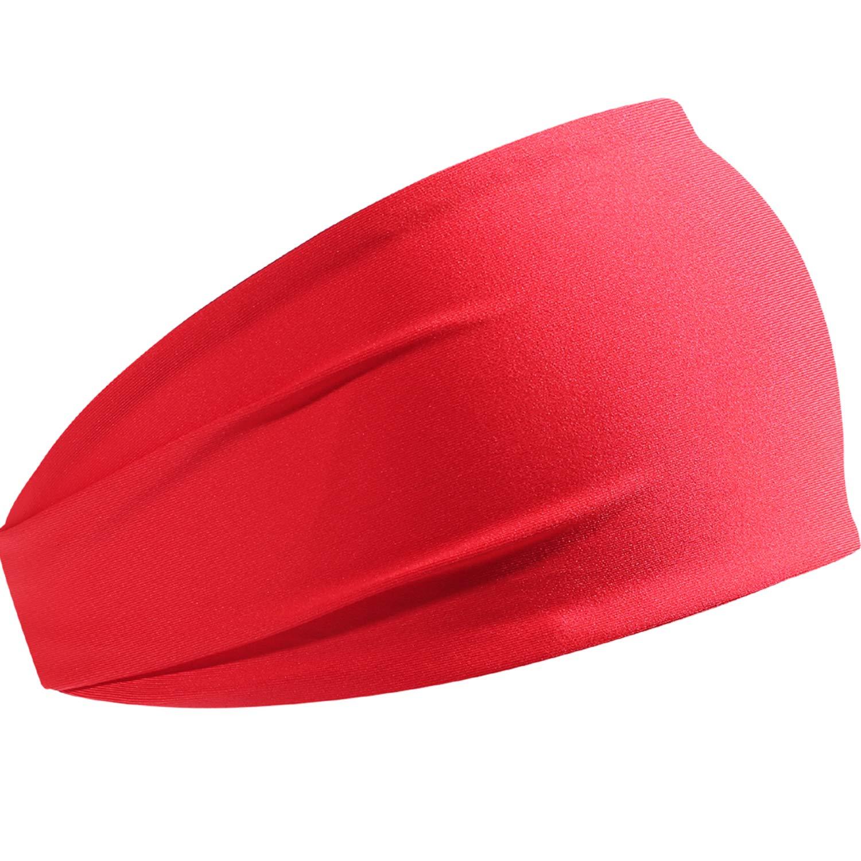 HCHYFZ Headbands Men Women Sweatband Sports Headband Moisture Wicking Workout Running Crossfit Yoga Bike (1PCS-Red)