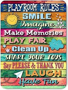 Honey Dew Gifts Kids Room Decor, Colorful Playroom Rules, 9x12 Novelty Tin Playroom Decor