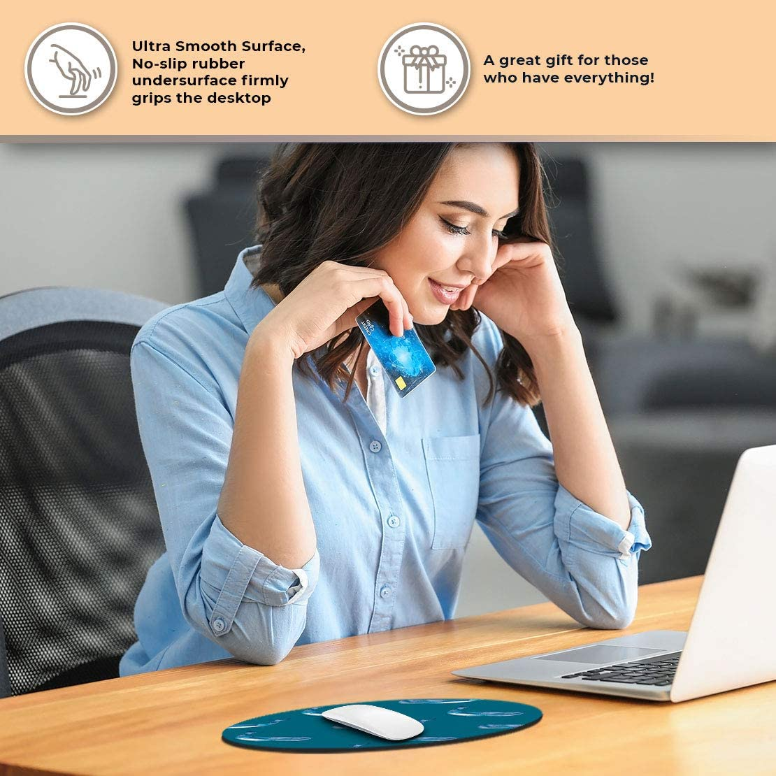 Round Mouse Mat RM2050 Blue Abstract Whale Pattern Office Gift