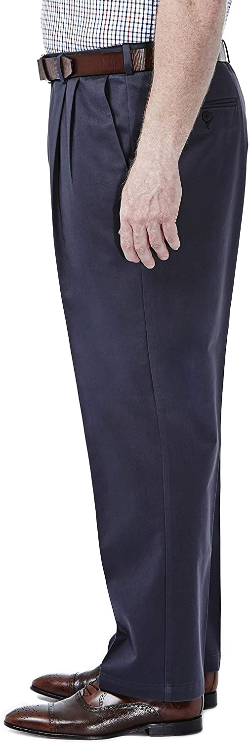 Haggar Men's Big & Tall Work to Weekend Hidden Expandable-Waist Pleat-Front Pant Graphite