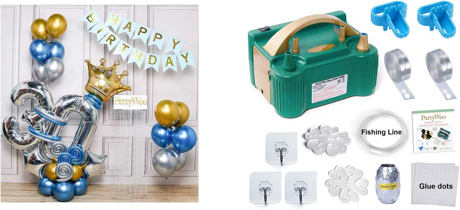 Bundle - 30th Birthday Balloons Garland Kit and Balloon Pump 110V 600W