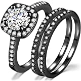 Silver Rose Gold Three-in-One Wedding Engagement Bridal Halo Ring Set