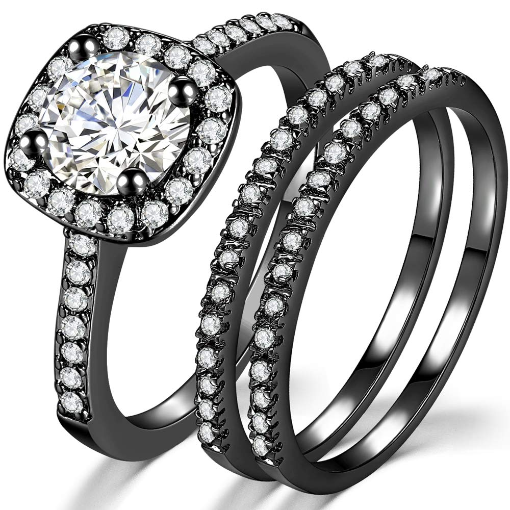 Jude Jewelers Silver Rose Gold Three-in-One Wedding Engagement Bridal Halo Ring Set