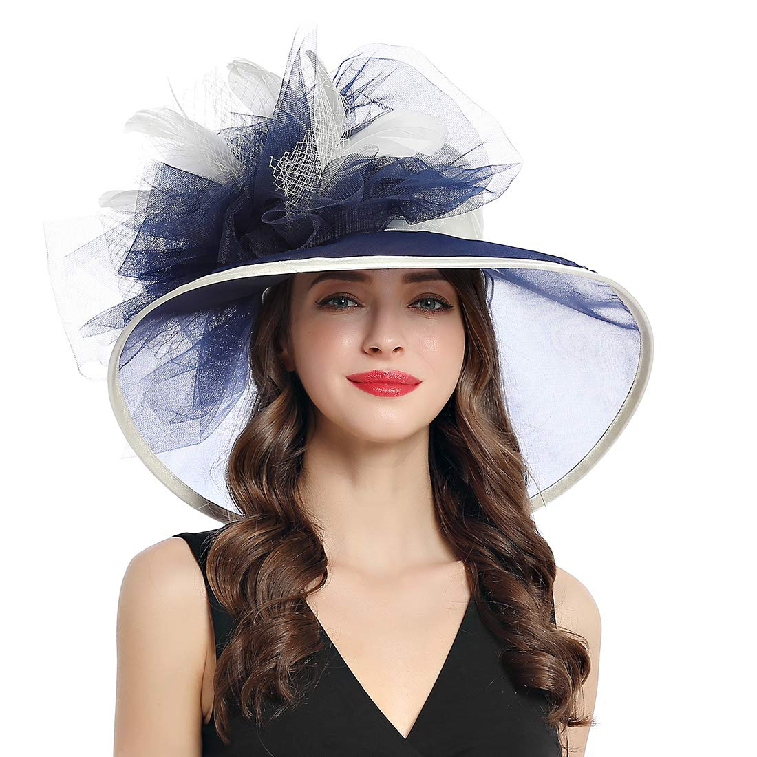 Women's Organza Church Kentucky Derby Fascinator Tea Party Wedding Hat (Beige Navyblue Feathers)