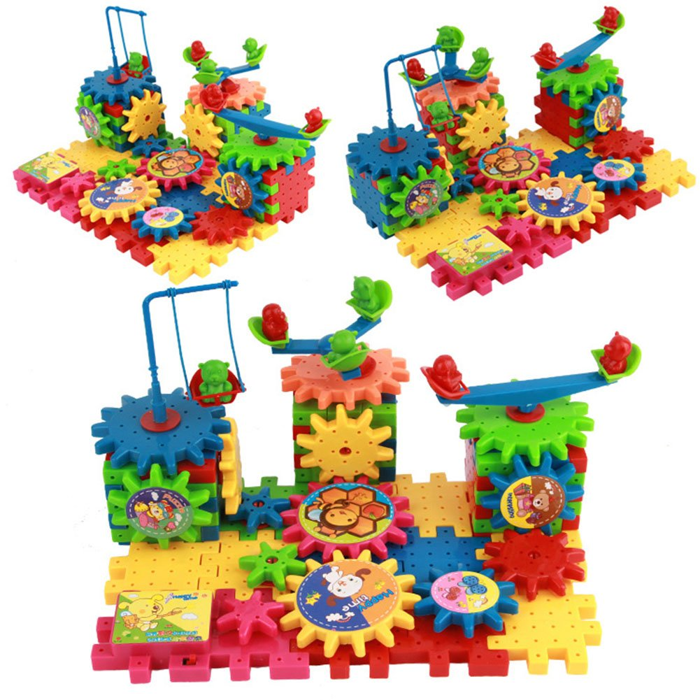 3D Learning Toys Funny Gear Building Blcoks Toy Set - Interlocking Gears Building Bricks Construction Set Motorized Spinner Wheels With Multiple Variations - 81pcs Sunny