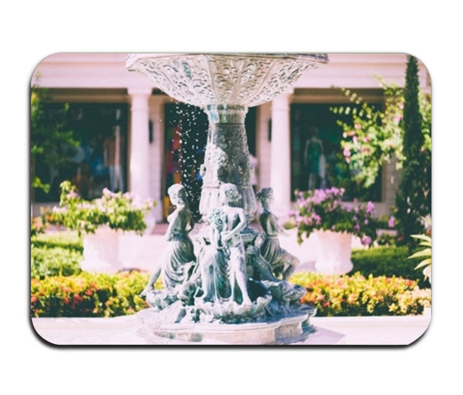 Lucy Curme 32''''(L) x 20''''(W),Statue Fountain Flower Indoor/Outdoor Floor Mats Living Room Bedroom Doormat