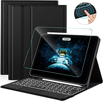 Sross Funda con Teclado para iPad Air 4, Español Ñ iPad Air 4 10.9 2020 Teclado con Touchpad &Protector de Pantalla, Negro
