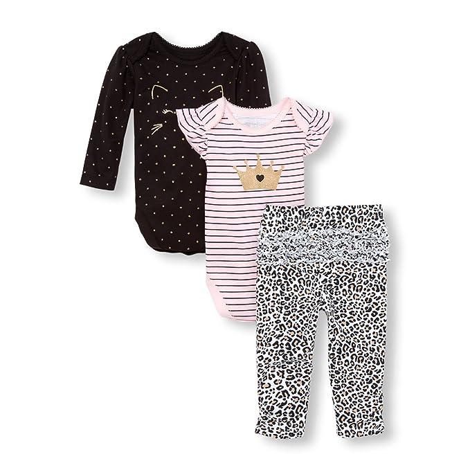 67809030d The Children's Place Baby Girls 3 Piece Princess Bodysuit Pant and Bib  Playwear Bundle Set,. Pasa el mouse encima de ...