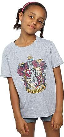 HARRY POTTER niñas Gryffindor Distressed Crest Camiseta 12-13 Years Gris Sport