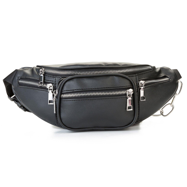 56cb058a87e MODARANI Cool Black Fanny Pack Bum Bag for Women Big Girls Multi-Pockets PU  Leather Waist Pack with Adjustable Belt